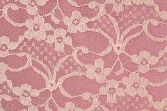 Plan rapproché de lacet rose et crème Photographie stock