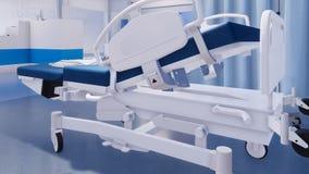 Plan rapproché de lit d'hôpital vide dans la chambre de secours illustration stock