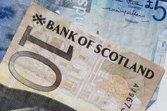 Plan rapproché de 10 livres écossaises de billets de banque Photos stock
