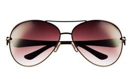 Plan rapproché de lunettes de soleil d'aviateur d'isolement sur le blanc Photos libres de droits
