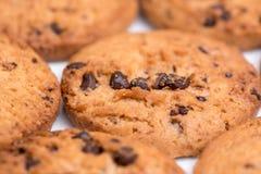 Plan rapproché de macro de gâteaux aux pépites de chocolat Image stock