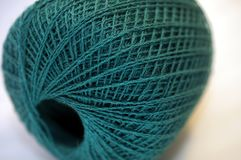 Plan rapproché de macro de Teal Merino Fine Yarn Detail Photos libres de droits