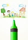 Plan rapproché de marqueur avec un dessin d'une famille Photos stock