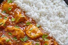 Plan rapproché de masala de tikka de poulet, nourriture traditionnelle de viande avec du riz Image stock