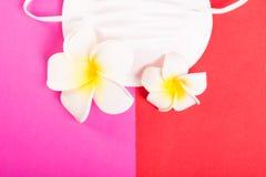 Plan rapproché de masque protecteur avec les fleurs exotiques Photos libres de droits