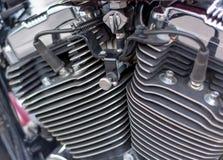 Plan rapproché de moto de cylindres de moteur image stock