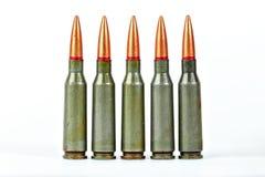 Plan rapproché de munitions d'arsenal sur le fond blanc Photos libres de droits
