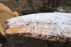 Plan rapproché de neige au-dessus d'un rondin Image stock