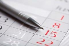 Plan rapproché de page de calendrier Images stock