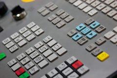 Plan rapproché de panneau de commande de commande numérique par ordinateur images stock