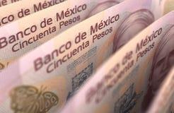 Plan rapproché de pesos mexicains Photographie stock