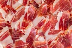 Plan rapproché de plaque de jambon de Jabugo Photos stock