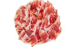 Plan rapproché de plaque de jambon de Jabugo Image libre de droits