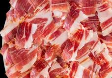 Plan rapproché de plaque de jambon de Jabugo Image stock