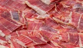 Plan rapproché de plat de jambon de Jabugo Photographie stock libre de droits