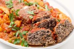Plan rapproché de plat de portion de Meatloar Images libres de droits