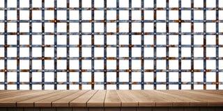 Plan rapproché de plate-forme et de barrière/de fond en bois colorés de clôture, vue de face illustration libre de droits