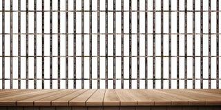 Plan rapproché de plate-forme et de barrière/de fond en bois colorés de clôture, vue de face illustration de vecteur