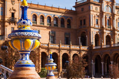 Plan rapproché de Plaza de Espana à Séville Photo libre de droits