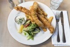 Plan rapproché de poisson-frites Photos libres de droits
