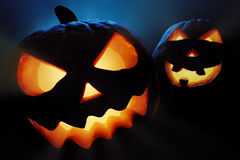 Plan rapproché de potirons de Halloween - cric o'lantern Photo stock