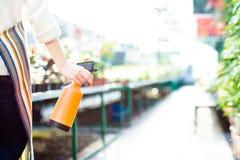 Plan rapproché de pulverizer de l'eau chez des mains de jardinière de la femme Images stock