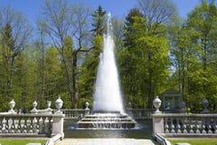 Plan rapproché de ` de pyramide de ` de fontaine sur un mayday ensoleillé Abaissez le parc régulier, Peterhof Photos libres de droits