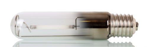 Plan rapproché de rendement optimum de lampe de sodium d'isolement sur le blanc Image libre de droits