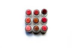Plan rapproché de rouge à lèvres directement vers le bas Photographie stock