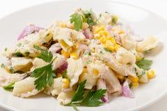 Plan rapproché de salade de pâtes de maïs doux de thon Photos libres de droits