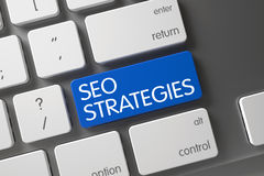 Plan rapproché de SEO Strategies de clavier 3d Images stock