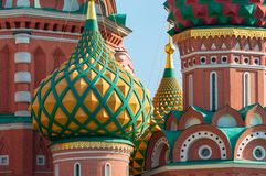 Plan rapproché de St Basil Cathedral, place rouge, Moscou Photos stock