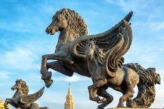 Plan rapproché de statues de Pegasus image libre de droits