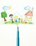 Plan rapproché de stylo de feutre avec un dessin d'une famille Photo stock