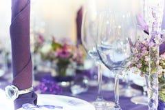 Plan rapproché de table de mariage Photo stock