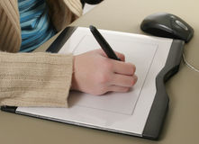 Plan rapproché de tablette graphique Photographie stock
