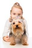 Plan rapproché de Terrier et une petite fille Images stock