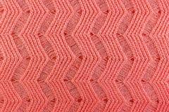Plan rapproché de texture tricoté par laine rose Fond naturel de tissu de laine Images libres de droits