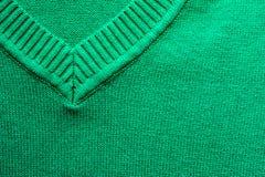 Plan rapproché de texture tricotée par virid de tissu de laine Photographie stock libre de droits