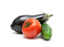 Plan rapproché de tomate, d'aubergine et de concombre sur un fond blanc Image stock