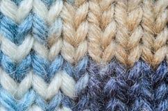 Plan rapproché de tricotage bleu de texture de mélange Images stock