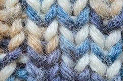 Plan rapproché de tricotage bleu de texture de mélange Photos libres de droits