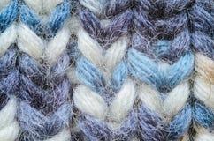 Plan rapproché de tricotage bleu de texture de mélange Photo libre de droits