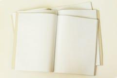 Plan rapproché de trois grands carnets propres et vides ouverts dans une cage, vue supérieure, fond, texture Endroit pour le text photos stock