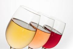 Plan rapproché de trois verres à vin Image libre de droits