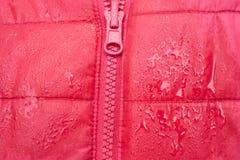 Plan rapproché de veste rouge avec la tirette Photos libres de droits