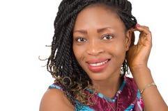 Plan rapproché de visage de sourire de femme Photographie stock