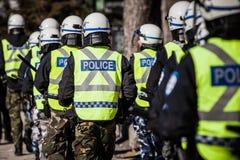 Plan rapproché de vitesse et de protections de police Photo stock