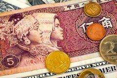 Plan rapproché de Yuan Foreign Currency des monnaies internationales d'argent Photographie stock libre de droits