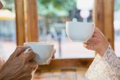 Plan rapproché des amis supérieurs ayant le café Photographie stock libre de droits